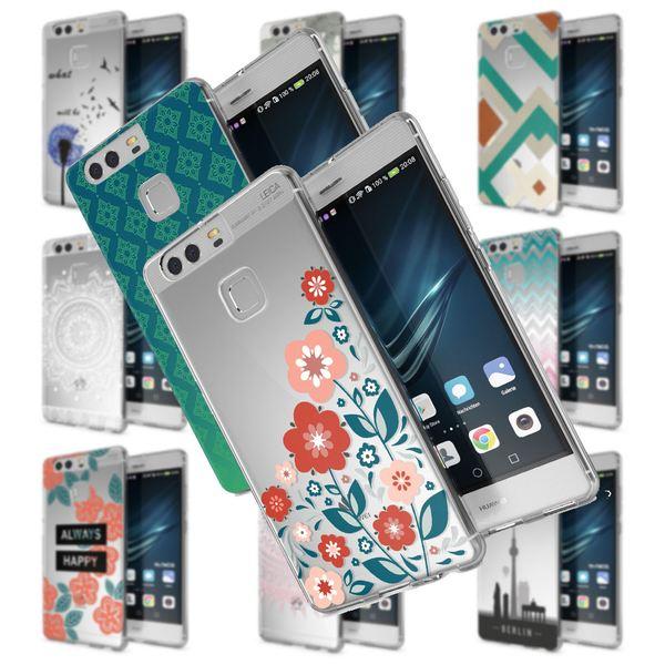 NALIA Handyhülle kompatibel mit Huawei P9, Slim Silikon Motiv Case Cover Hülle Crystal Schutzhülle Dünn Durchsichtig Etui Handy-Tasche Back-Cover Transparent Phone Bumper – Bild 1