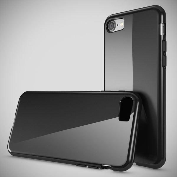 NALIA Handyhülle kompatibel mit iPhone 8 / 7, Ultra-Slim Silikon Case Cover, Dünne Crystal Schutz-Hülle Etui Handy-Tasche Back-Cover Bumper, TPU Telefon-Schale Thin Smart-Phone Gummi-Hülle - Schwarz – Bild 2