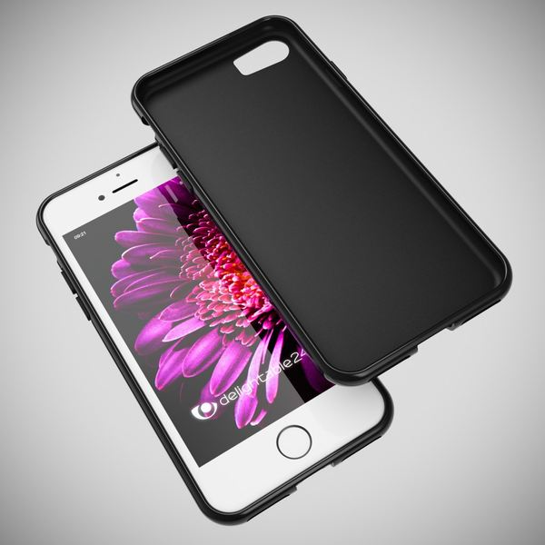 NALIA Handyhülle kompatibel mit iPhone 8 / 7, Ultra-Slim Silikon Case Cover, Dünne Crystal Schutz-Hülle Etui Handy-Tasche Back-Cover Bumper, TPU Telefon-Schale Thin Smart-Phone Gummi-Hülle - Schwarz – Bild 5