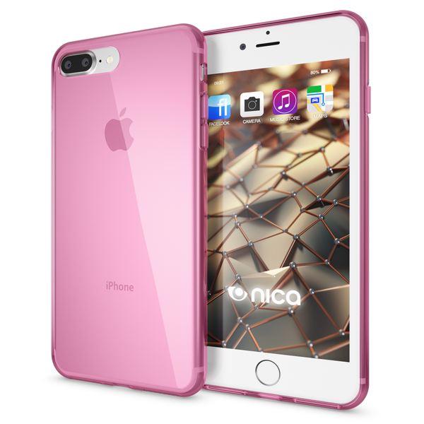 NALIA Handyhülle für iPhone 8 Plus / 7 Plus, Ultra-Slim Silikon Case, Dünne Crystal Schutz-Hülle, Etui Handy-Tasche Back-Cover Bumper, Gummihülle für Apple i-Phone 7+ / 8+ - Transparent Pink – Bild 1