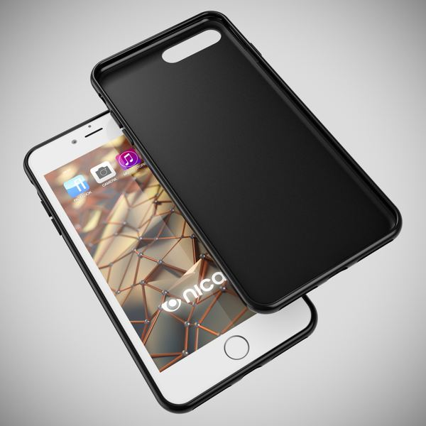 NALIA Handyhülle für iPhone 8 Plus / 7 Plus, Ultra-Slim Silikon Case, Dünne Crystal Schutz-Hülle, Etui Handy-Tasche Back-Cover Bumper, Gummihülle für Apple i-Phone 7+ / 8+ - Matt Schwarz – Bild 3