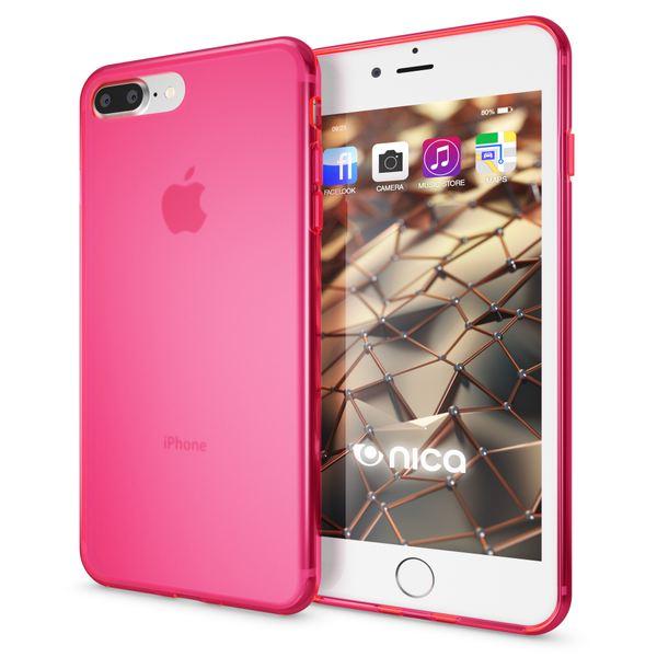 NALIA Handyhülle für iPhone 8 Plus / 7 Plus, Ultra-Slim Silikon Case, Dünne Crystal Schutz-Hülle, Etui Handy-Tasche Back-Cover Bumper, Gummihülle für Apple i-Phone 7+ / 8+ - Matt Pink – Bild 1