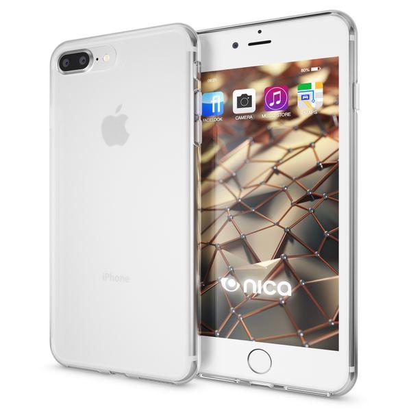 NALIA Handyhülle für iPhone 8 Plus / 7 Plus, Ultra-Slim Silikon Case, Dünne Crystal Schutz-Hülle, Etui Handy-Tasche Back-Cover Bumper, Gummihülle für Apple i-Phone 7+ / 8+ - Transparent Weiß – Bild 1
