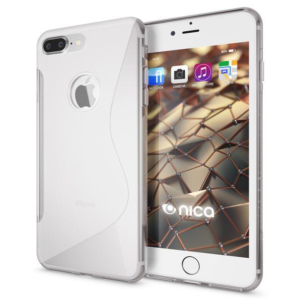 NALIA Handyhülle für iPhone 8 Plus / 7 Plus, Ultra-Slim Silikon Case, Dünne Crystal Schutz-Hülle, Etui Handy-Tasche Back-Cover Bumper, Gummihülle für Apple i-Phone 7+ / 8+ - S-Line Transparent – Bild 1