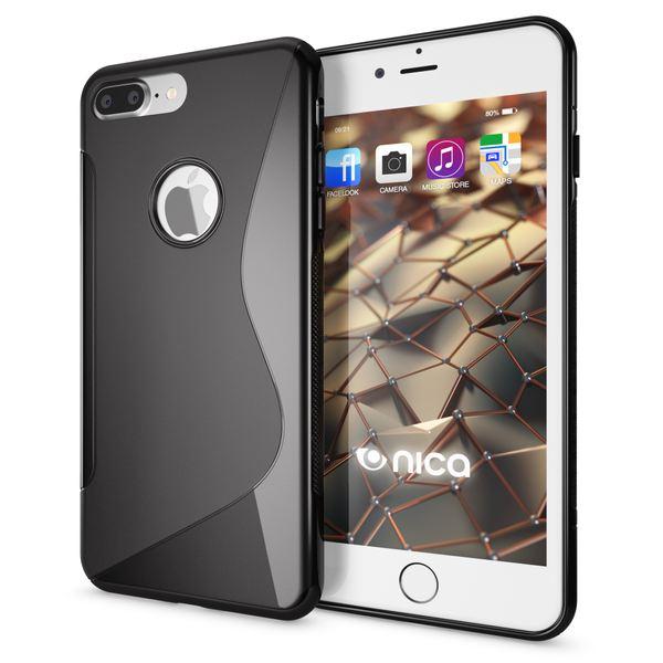 NALIA Handyhülle für iPhone 8 Plus / 7 Plus, Ultra-Slim Silikon Case, Dünne Crystal Schutz-Hülle, Etui Handy-Tasche Back-Cover Bumper, Gummihülle für Apple i-Phone 7+ / 8+ - S-Line Schwarz – Bild 1