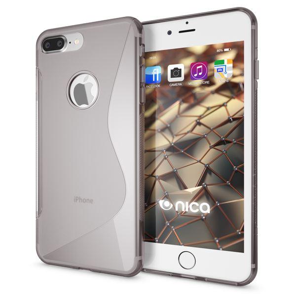 NALIA Handyhülle kompatibel mit iPhone 8 Plus / 7 Plus, Ultra-Slim Silikon Case, Dünne Crystal Schutz-Hülle Etui Handy-Tasche Telefon-Schale Back-Cover Bumper, Smart-Phone Gummi-Hülle - S-Line Grau – Bild 1