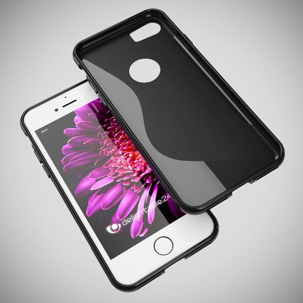 NALIA Handyhülle für iPhone 8 / 7, Ultra-Slim Silikon Case Cover, Dünne Crystal Schutz-Hülle, Etui Handy-Tasche Back-Cover Bumper, TPU Gummihülle für Apple i-Phone 7 / 8 Phone - S-Line Schwarz – Bild 5