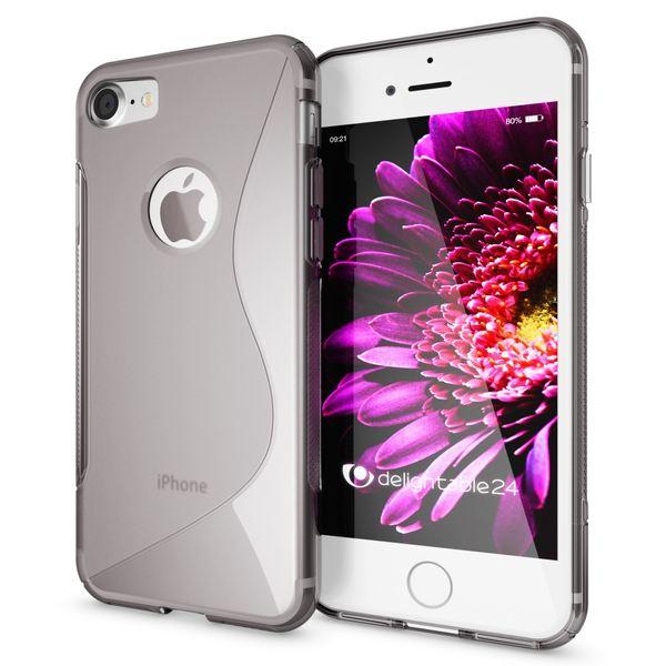 NALIA Handyhülle für iPhone 8 / 7, Ultra-Slim Silikon Case Cover, Dünne Crystal Schutz-Hülle, Etui Handy-Tasche Back-Cover Bumper, TPU Gummihülle für Apple i-Phone 7 / 8 Phone - S-Line Grau – Bild 1