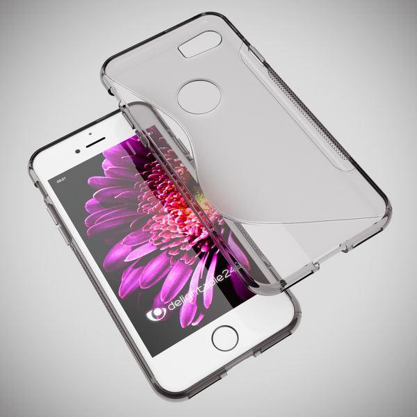 NALIA Handyhülle für iPhone 8 / 7, Ultra-Slim Silikon Case Cover, Dünne Crystal Schutz-Hülle, Etui Handy-Tasche Back-Cover Bumper, TPU Gummihülle für Apple i-Phone 7 / 8 Phone - S-Line Grau – Bild 5