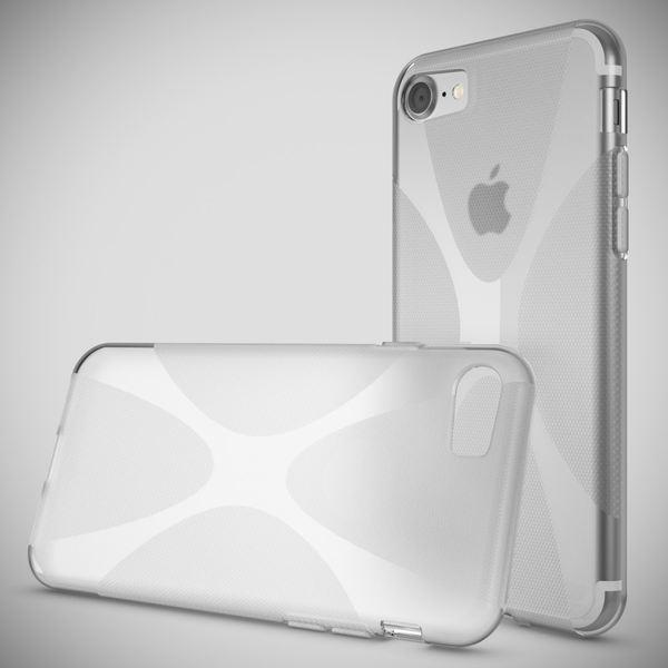 NALIA Handyhülle kompatibel mit iPhone 8 / 7, Ultra-Slim Silikon Case Cover, Dünne Crystal Schutz-Hülle Etui Handy-Tasche Back-Cover Bumper, TPU Schale Smart-Phone Gummi-Hülle - X-Line Transparent – Bild 2