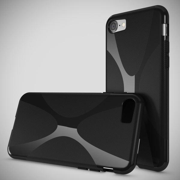 NALIA Handyhülle kompatibel mit iPhone 8 / 7, Ultra-Slim Silikon Case Cover, Dünne Crystal Schutz-Hülle Etui Handy-Tasche Back-Cover Bumper TPU Telefon-Schale Smart-Phone Gummi-Hülle - X-Line Schwarz – Bild 2