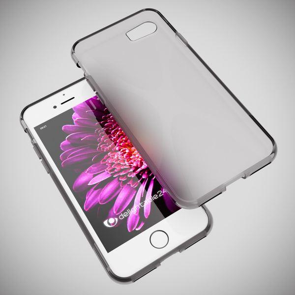 NALIA Handyhülle kompatibel mit iPhone 8 / 7, Ultra-Slim Silikon Case Cover, Dünne Crystal Schutz-Hülle Etui Handy-Tasche Back-Cover Bumper, TPU Telefon-Schale Smart-Phone Gummi-Hülle - X-Line Grau – Bild 5