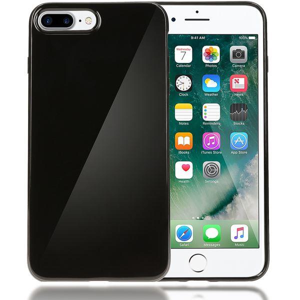 NALIA Handyhülle kompatibel mit iPhone 8 Plus / 7 Plus, Ultra-Slim TPU Silikon Jelly Case, Dünne Gummi Schutz-Hülle Telefon-Schale Skin, Etui Handy-Tasche Back-Cover Thin Smart-Phone Bumper - Schwarz – Bild 1