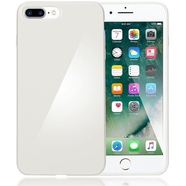 NALIA Handyhülle für iPhone 8 Plus / 7 Plus, Ultra-Slim TPU Silikon Jelly Case, Dünner Gummi Schutz-Hülle Skin, Etui Handy-Tasche Back-Cover Bumper für Apple i-Phone 7 Plus / 8 Plus - Weiß – Bild 1