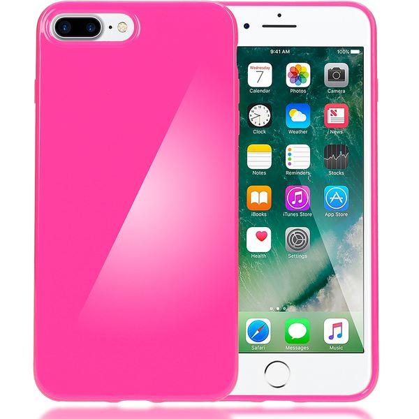 NALIA Handyhülle für iPhone 8 Plus / 7 Plus, Ultra-Slim TPU Silikon Jelly Case, Dünner Gummi Schutz-Hülle Skin, Etui Handy-Tasche Back-Cover Bumper für Apple i-Phone 7 Plus / 8 Plus - Pink – Bild 1