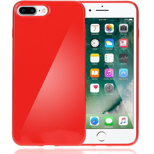 iPhone 8 Plus / 7 Plus Hülle Handyhülle von NICA, Ultra-Slim TPU Silikon Jelly Case, Dünner Gummi Schutz Skin, Etui Handy-Tasche Back-Cover Bumper für Apple i-Phone 7 Plus / 8 Plus - Rot – Bild 1