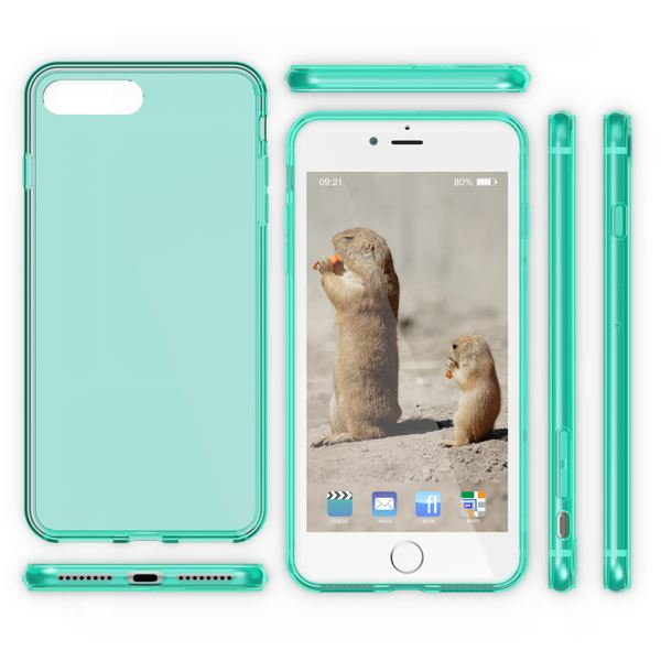 NALIA Handyhülle kompatibel mit iPhone 8 Plus / 7 Plus, Ultra-Slim Silikon Case Cover Crystal Schutz-Hülle Dünn Durchsichtig, Etui Handy-Tasche Back-Cover Transparent Thin Smart-Phone Bumper - Türkis – Bild 5