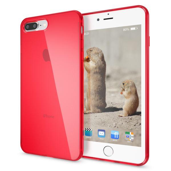 NALIA Handyhülle kompatibel mit iPhone 8 Plus / 7 Plus, Ultra-Slim Silikon Case Cover Crystal Schutz-Hülle Dünn Durchsichtig, Etui Handy-Tasche Back-Cover Schale Transparent Smart-Phone Bumper - Rot – Bild 1