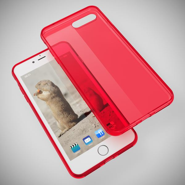 NALIA Handyhülle kompatibel mit iPhone 8 Plus / 7 Plus, Ultra-Slim Silikon Case Cover Crystal Schutz-Hülle Dünn Durchsichtig, Etui Handy-Tasche Back-Cover Schale Transparent Smart-Phone Bumper - Rot – Bild 2