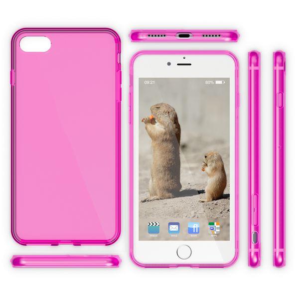 NALIA Handyhülle kompatibel mit iPhone 8 / 7, Ultra-Slim Silikon Case Cover Crystal Schutz-Hülle Dünn Durchsichtig, Etui Handy-Tasche Backcover Transparent Smart-Phone Thin Bumper - Pink Transparent – Bild 5