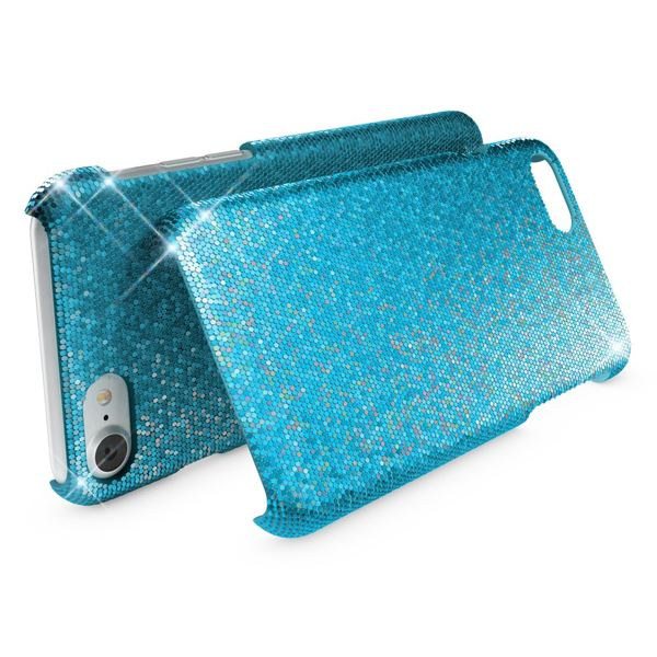NALIA Handyhülle kompatibel mit iPhone 8 / 7, Glitzer Slim Hard-Case Back-Cover Schutz-Hülle, Handy-Tasche im Glitter Sparkle Design, Dünnes Bling Strass Etui Schale Thin Smart-Phone Skin - Türkis – Bild 2