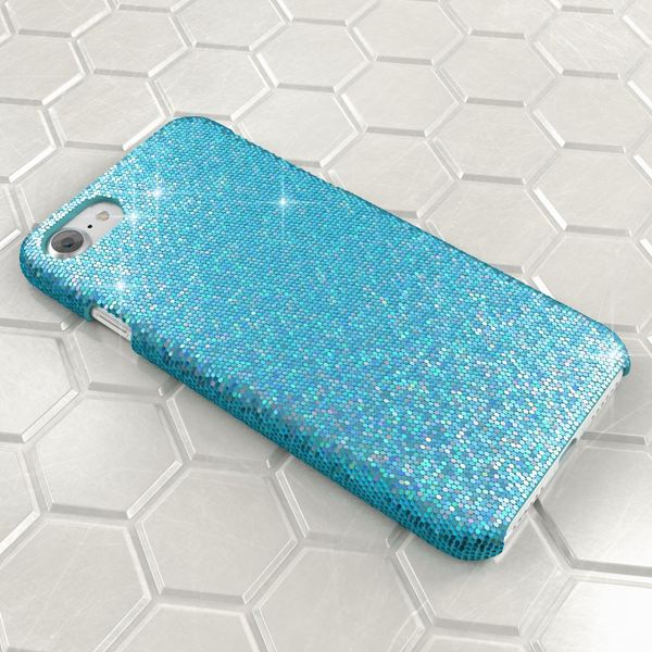 NALIA Handyhülle kompatibel mit iPhone 8 / 7, Glitzer Slim Hard-Case Back-Cover Schutz-Hülle, Handy-Tasche im Glitter Sparkle Design, Dünnes Bling Strass Etui Schale Thin Smart-Phone Skin - Türkis – Bild 3
