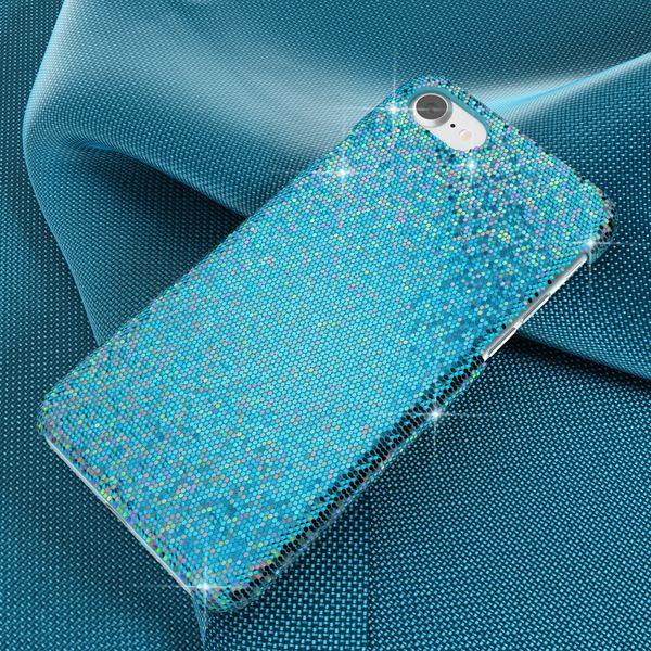 NALIA Handyhülle kompatibel mit iPhone 8 / 7, Glitzer Slim Hard-Case Back-Cover Schutz-Hülle, Handy-Tasche im Glitter Sparkle Design, Dünnes Bling Strass Etui Schale Thin Smart-Phone Skin - Türkis – Bild 5
