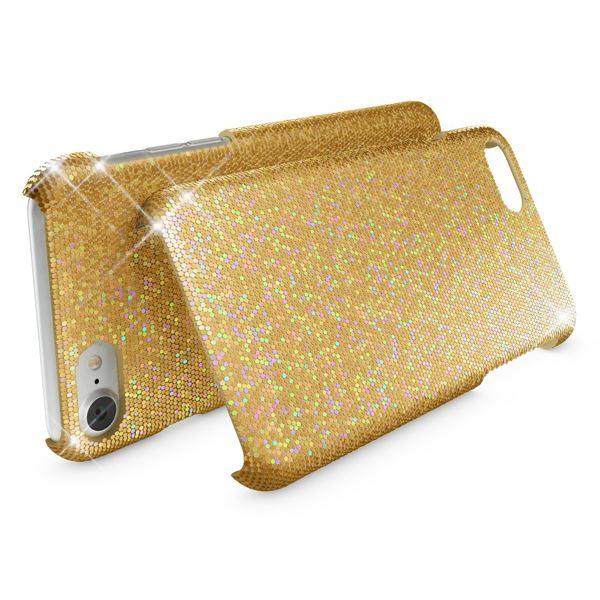 NALIA Handyhülle kompatibel mit iPhone 8 / 7, Glitzer Slim Hard-Case Back-Cover Schutz-Hülle, Handy-Tasche im Glitter Sparkle Design, Dünnes Bling Strass Etui Schale Thin Smart-Phone Skin - Gelb Gold – Bild 2
