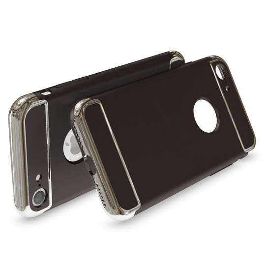 iPhone 7 Hülle Handyhülle von NALIA, stoßfeste Schutzhülle Case Cover, Dünnes Hardcase Handy-Tasche, Slim Backcover Phone Etui Matt Metall-Look Bumper für Apple iPhone 7 Smartphone - Schwarz – Bild 2