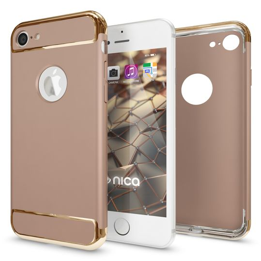 iPhone 7 Hülle Handyhülle von NALIA, stoßfeste Schutzhülle Case Cover, Dünnes Hardcase Handy-Tasche, Slim Backcover Phone Etui Matt Metall-Look Bumper für Apple iPhone 7 Smartphone - Gold – Bild 4