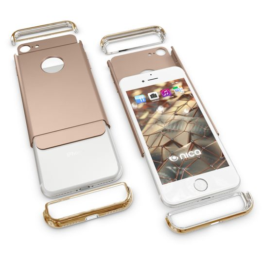iPhone 7 Hülle Handyhülle von NALIA, stoßfeste Schutzhülle Case Cover, Dünnes Hardcase Handy-Tasche, Slim Backcover Phone Etui Matt Metall-Look Bumper für Apple iPhone 7 Smartphone - Gold – Bild 3