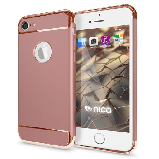 iPhone 7 Hülle Handyhülle von NALIA, stoßfeste Schutzhülle Case Cover, Dünnes Hardcase Handy-Tasche, Slim Backcover Phone Etui Matt Metall-Look Bumper für Apple iPhone 7 Smartphone - Rose Gold – Bild 1