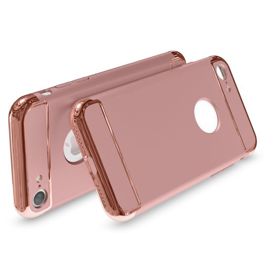 iPhone 7 Hülle Handyhülle von NALIA, stoßfeste Schutzhülle Case Cover, Dünnes Hardcase Handy-Tasche, Slim Backcover Phone Etui Matt Metall-Look Bumper für Apple iPhone 7 Smartphone - Rose Gold – Bild 2