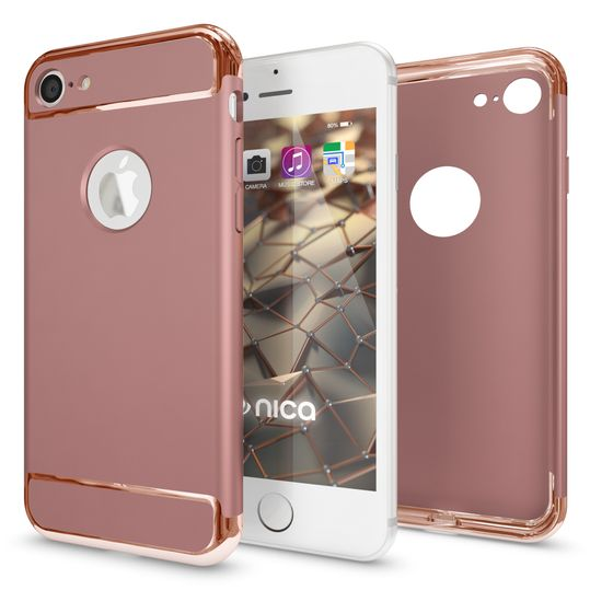 iPhone 7 Hülle Handyhülle von NALIA, stoßfeste Schutzhülle Case Cover, Dünnes Hardcase Handy-Tasche, Slim Backcover Phone Etui Matt Metall-Look Bumper für Apple iPhone 7 Smartphone - Rose Gold – Bild 3