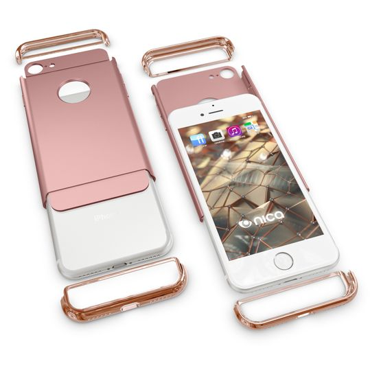 iPhone 7 Hülle Handyhülle von NALIA, stoßfeste Schutzhülle Case Cover, Dünnes Hardcase Handy-Tasche, Slim Backcover Phone Etui Matt Metall-Look Bumper für Apple iPhone 7 Smartphone - Rose Gold – Bild 4