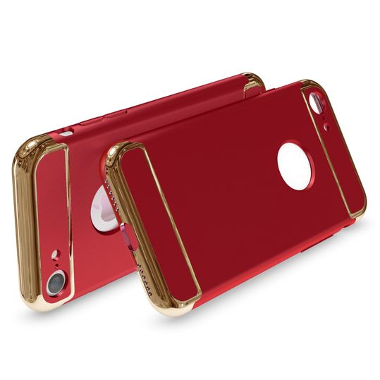 iPhone 7 Hülle Handyhülle von NALIA, stoßfeste Schutzhülle Case Cover, Dünnes Hardcase Handy-Tasche, Slim Backcover Phone Etui Matt Metall-Look Bumper für Apple iPhone 7 Smartphone - Rot – Bild 2