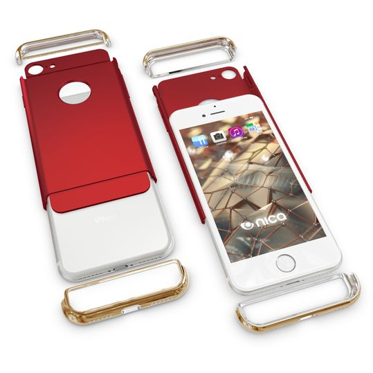 iPhone 7 Hülle Handyhülle von NALIA, stoßfeste Schutzhülle Case Cover, Dünnes Hardcase Handy-Tasche, Slim Backcover Phone Etui Matt Metall-Look Bumper für Apple iPhone 7 Smartphone - Rot – Bild 4