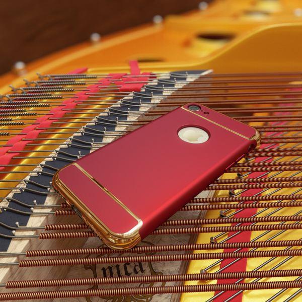NALIA Handyhülle kompatibel mit iPhone 7, Metall-Look Matt Stoßfeste Schutz-Hülle Cover Case Telefon-Schale, Dünnes Hardcase Handy-Tasche Ultra-Slim Backcover Smart-Phone Etui Thin-Fit Bumper - Rot – Bild 5