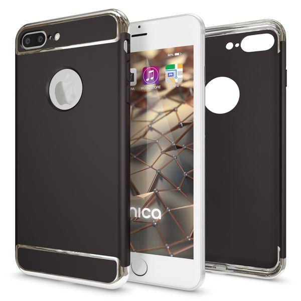 NALIA Handyhülle für iPhone 8 Plus / 7 Plus, stoßfeste Schutz-Hülle Case Cover, Dünnes Hardcase Handy-Tasche, Slim Backcover Etui Matt Metall-Look Bumper für Apple i-Phone 7+ / 8+ - Schwarz – Bild 5