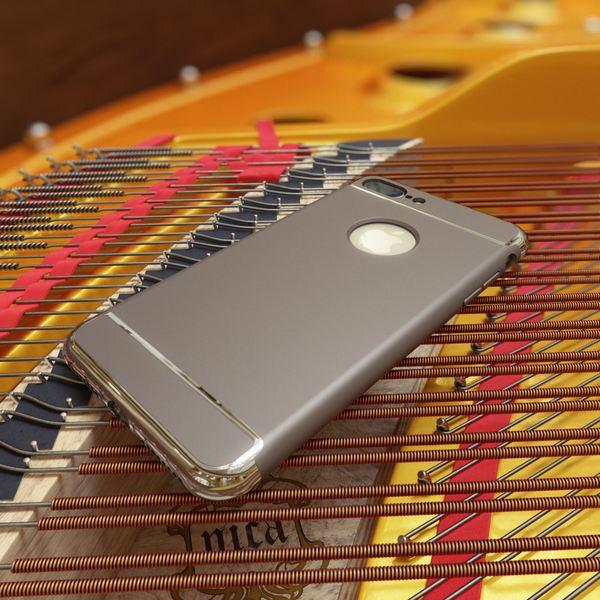 NALIA Handyhülle für iPhone 8 Plus / 7 Plus, stoßfeste Schutz-Hülle Case Cover, Dünnes Hardcase Handy-Tasche, Slim Backcover Etui Matt Metall-Look Bumper für Apple i-Phone 7+ / 8+ - Grau – Bild 2