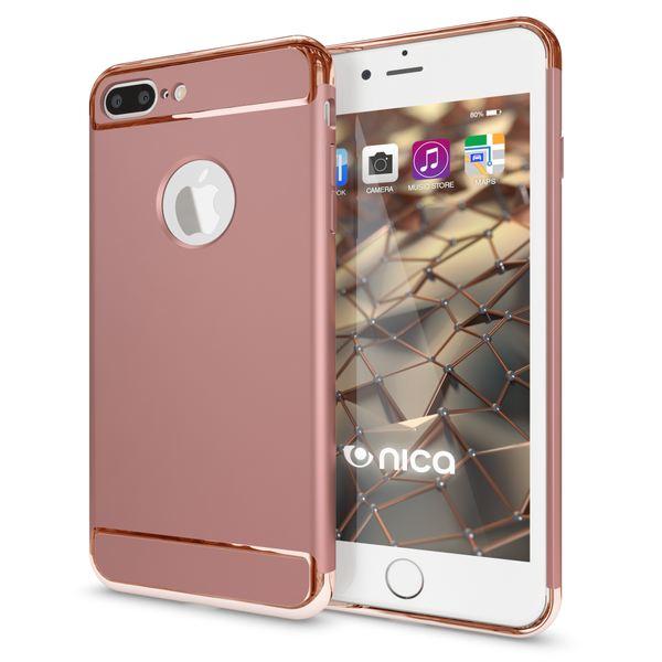 NALIA Handyhülle für iPhone 8 Plus / 7 Plus, stoßfeste Schutz-Hülle Case Cover, Dünnes Hardcase Handy-Tasche, Slim Backcover Etui Matt Metall-Look Bumper für Apple i-Phone 7+ / 8+ - Rose Gold – Bild 1
