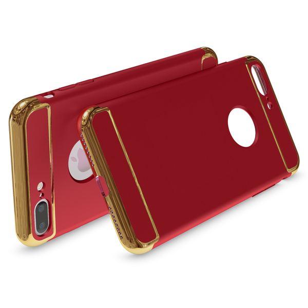 NALIA Handyhülle für iPhone 8 Plus / 7 Plus, stoßfeste Schutz-Hülle Case Cover, Dünnes Hardcase Handy-Tasche, Slim Backcover Etui Matt Metall-Look Bumper für Apple i-Phone 7+ / 8+ - Rot – Bild 3