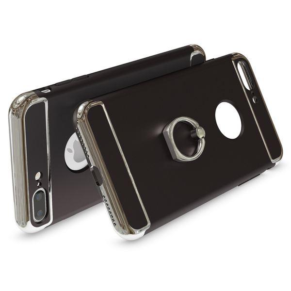 NALIA Ring Handyhülle für iPhone 8 Plus / 7 Plus, Schutz-Hülle mit 360-Grad Fingerhalterung, Dünnes Hard-Case mit Ständer, Slim Back-Cover Etui matt metallisch für Apple i-Phone 7+ / 8+ - Schwarz – Bild 2