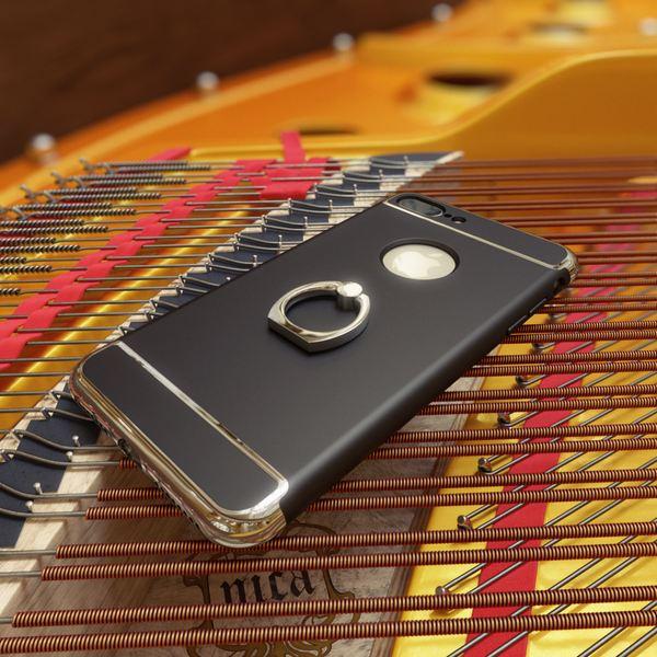 NALIA Ring Handyhülle für iPhone 8 Plus / 7 Plus, Schutz-Hülle mit 360-Grad Fingerhalterung, Dünnes Hard-Case mit Ständer, Slim Back-Cover Etui matt metallisch für Apple i-Phone 7+ / 8+ - Schwarz – Bild 5