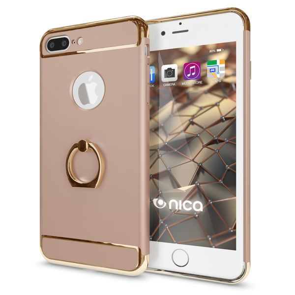 NALIA Ring Handyhülle kompatibel mit iPhone 8 Plus / 7 Plus, Schutz-Hülle Cover mit 360-Grad Fingerhalterung, Dünnes Hard-Case mit Ständer, Slim Backcover Smart-Phone Etui Matt Metallisch - Gold – Bild 1