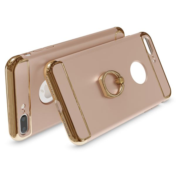 NALIA Ring Handyhülle kompatibel mit iPhone 8 Plus / 7 Plus, Schutz-Hülle Cover mit 360-Grad Fingerhalterung, Dünnes Hard-Case mit Ständer, Slim Backcover Smart-Phone Etui Matt Metallisch - Gold – Bild 2
