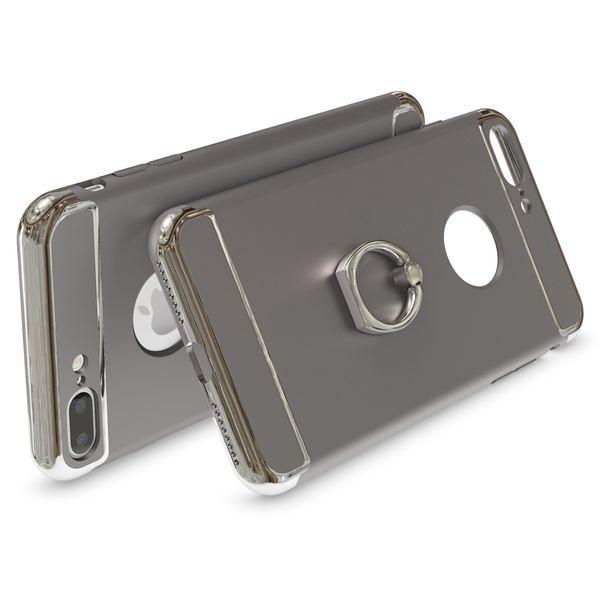 NALIA Ring Handyhülle kompatibel mit iPhone 8 Plus / 7 Plus, Schutz-Hülle Cover mit 360-Grad Fingerhalterung, Dünnes Hard-Case mit Ständer, Slim Backcover Smart-Phone Etui Matt Metallisch - Grau – Bild 2