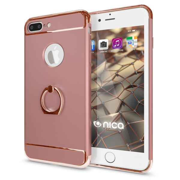 NALIA Ring Handyhülle kompatibel mit iPhone 8 Plus / 7 Plus, Schutz-Hülle Cover mit 360-Grad Fingerhalterung, Dünnes Hard-Case mit Ständer, Slim Backcover Smart-Phone Etui Matt Metallisch - Rose Gold – Bild 1