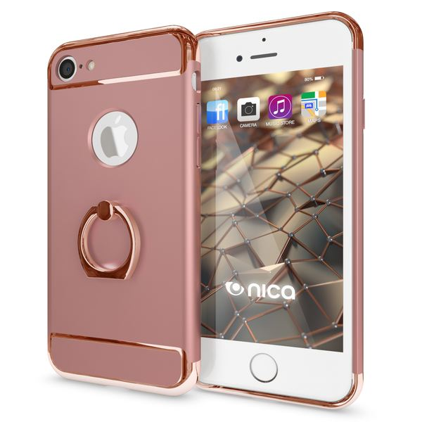 NALIA Ring Handyhülle kompatibel mit iPhone 7, Schutz-Hülle Cover mit 360-Grad Fingerhalterung, Dünnes Hard-Case mit Ständer Slim Backcover Smart-Phone Etui Telefon-Schale Matt Metallisch - Rose Gold – Bild 1
