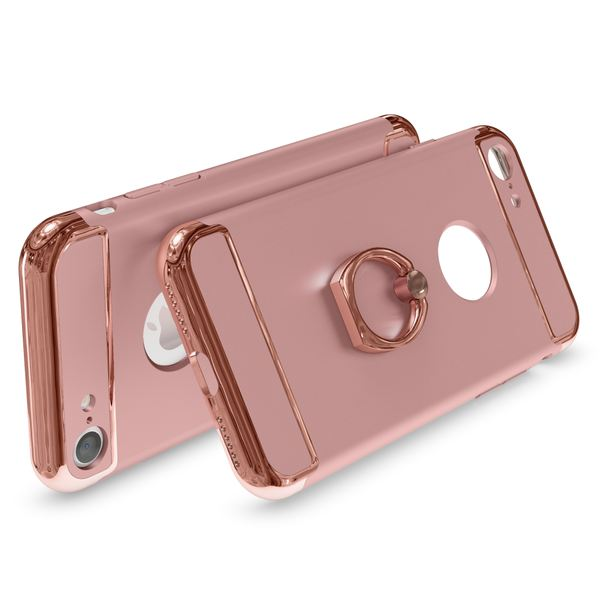 NALIA Ring Handyhülle kompatibel mit iPhone 7, Schutz-Hülle Cover mit 360-Grad Fingerhalterung, Dünnes Hard-Case mit Ständer Slim Backcover Smart-Phone Etui Telefon-Schale Matt Metallisch - Rose Gold – Bild 2